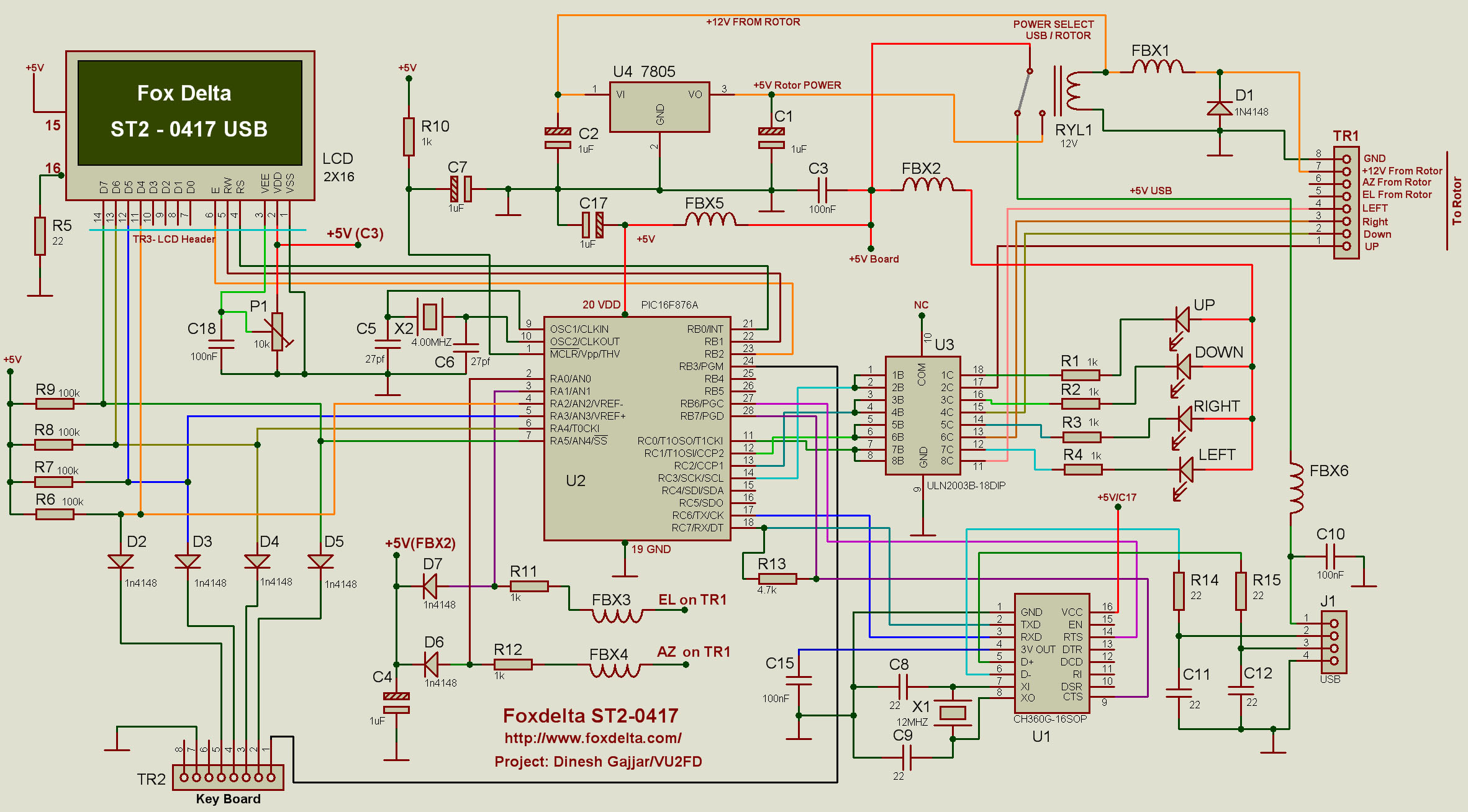 St2 0417 Usb Pic16f876a Lcd Satellite Antenna Tracking Interface Circuit 0318 Schematic