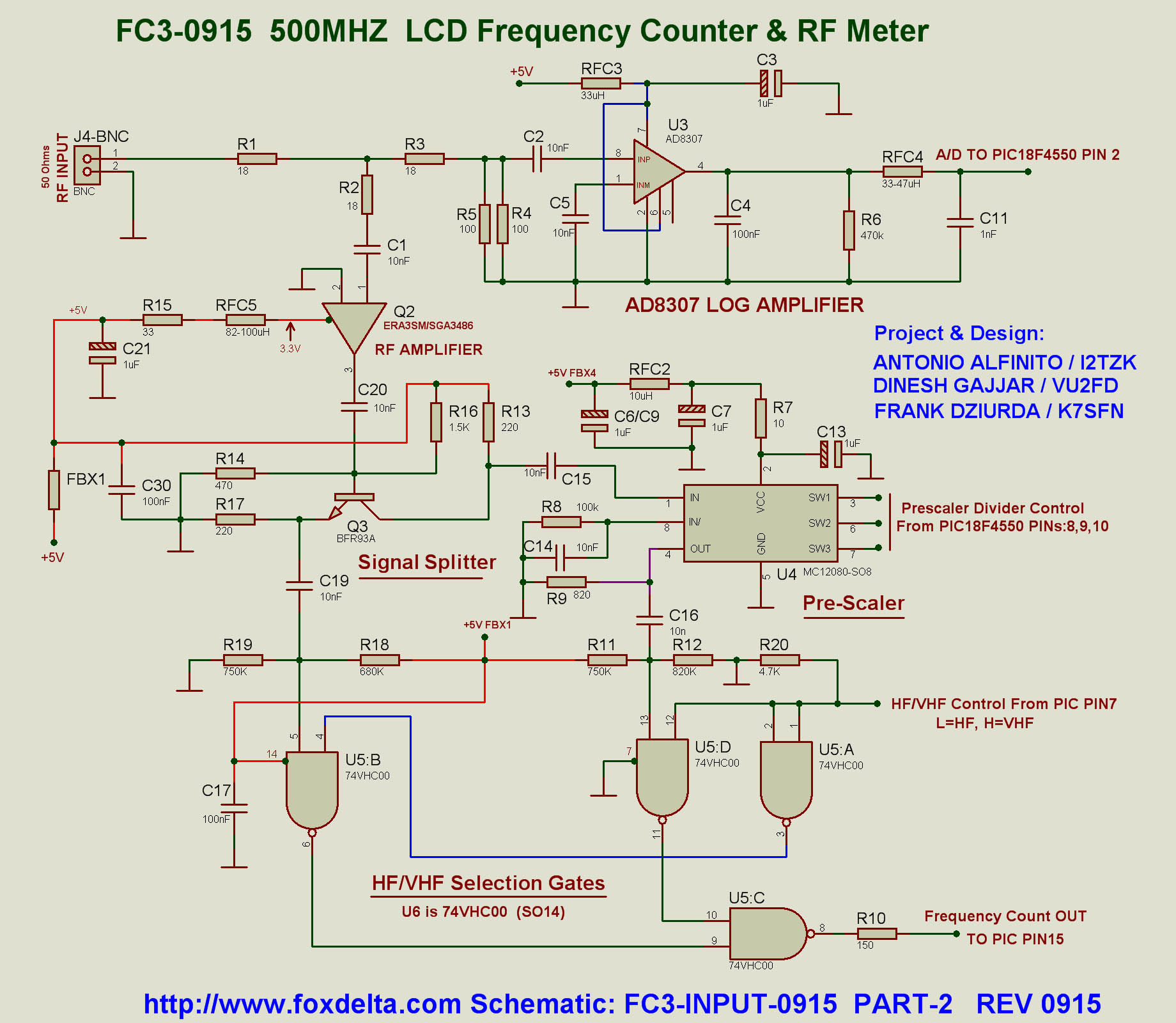 Fc3 Pic18f4550 50 500mhz Frequency Counter Rf Power Meter Using Ad8307 0 Pic16f876 Input