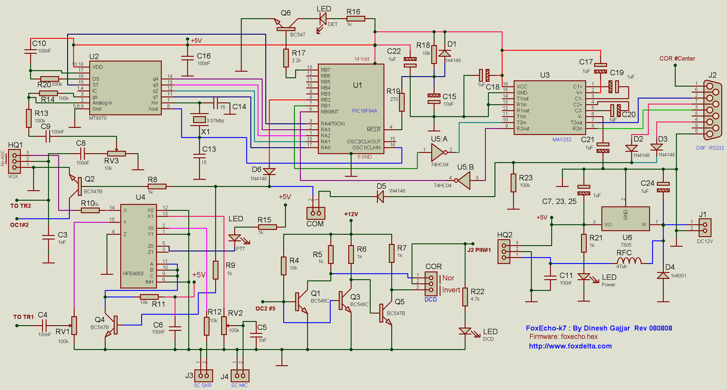 Foxecho k7 pic16f84a echolink pcradio interface schematic jpg pooptronica