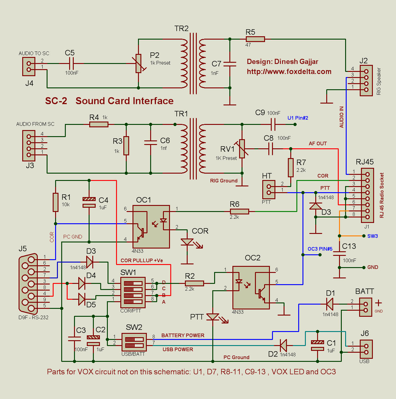 Fox Delta Sc2sound Card Interface Usb Schematic Sc2