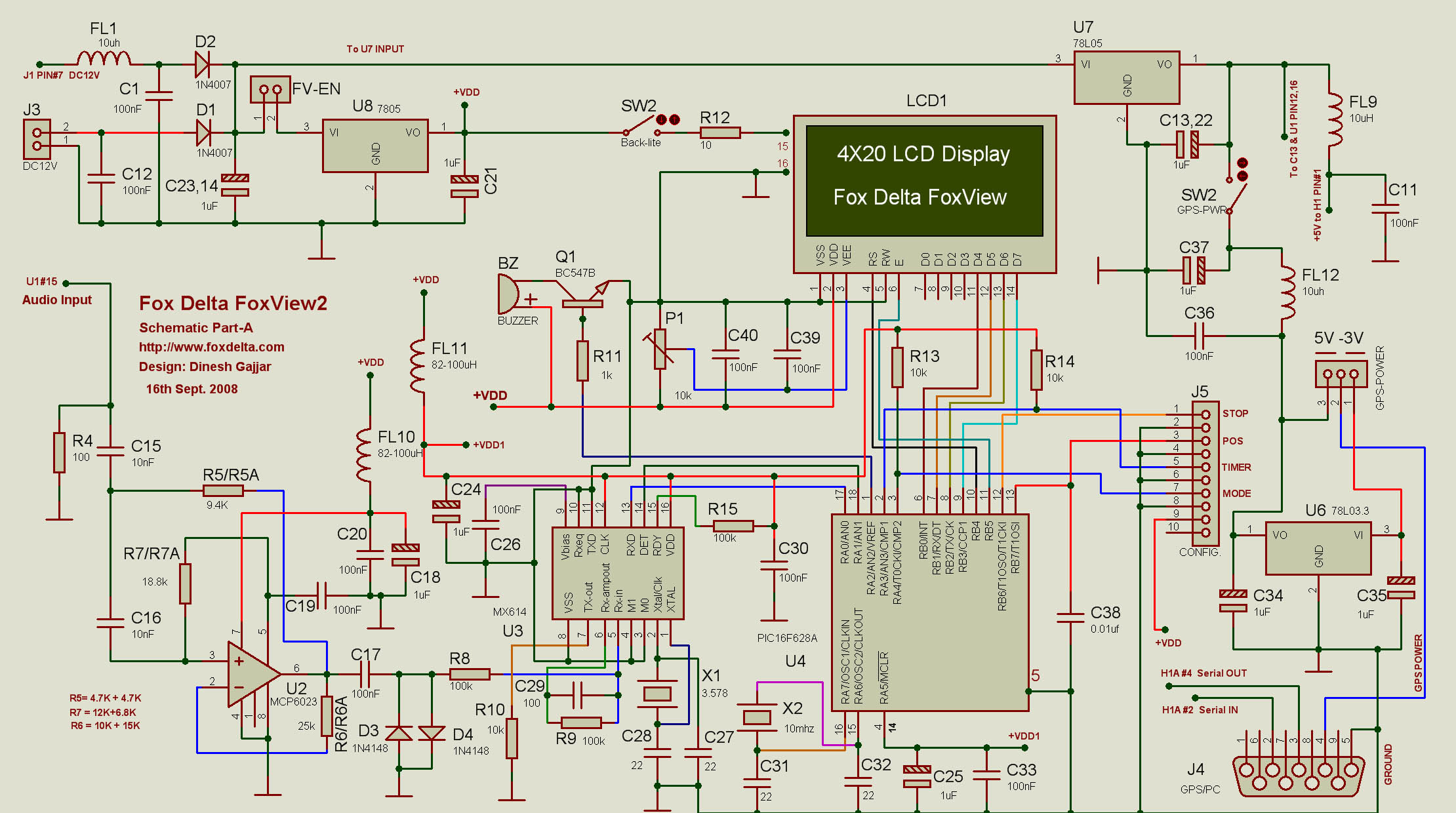 Foxview2pic16f628a 4x20 Lcd Aprs Terminal Tracker Kiss Tnc Gps Circuit Schematic Of Foxview2 Part A